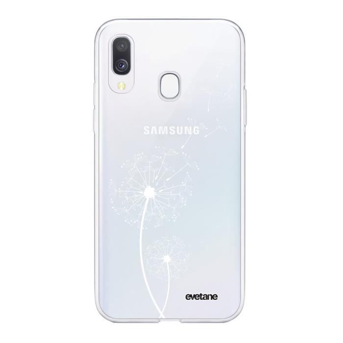 Coque Samsung Galaxy A20e 360 intégrale transparente Pissenlit BLANC Ecriture Tendance Design Evetane