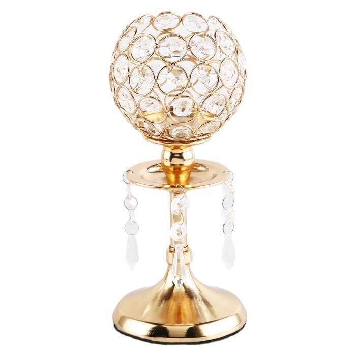 Bougeoir en cristal de lumière de thé support de chandelier de mariage étincelant pour la salle à manger décorative pièce Or S