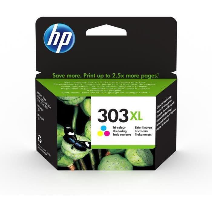 HP 303XL cartouche d'encre trois couleurs grande capacité authentique pour HP Envy Photo 6220/6230/7130 (T6N03AE)