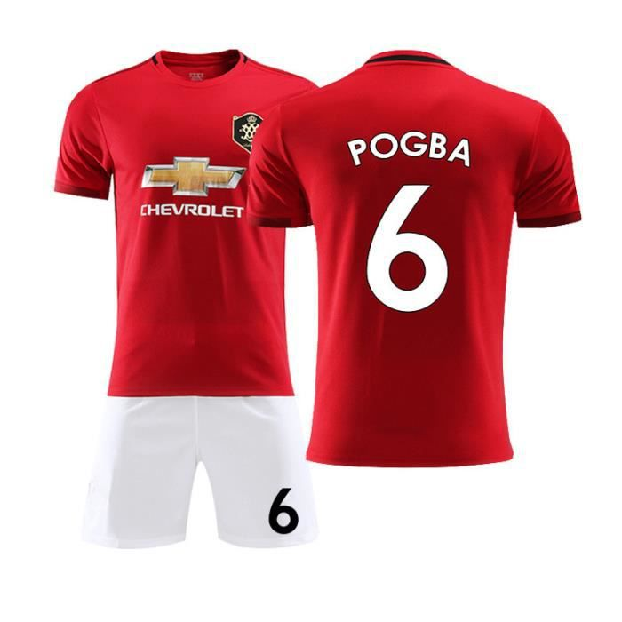 Manchester United 19-20 NO.6 POGBA Jersey Maillots Foot et Shorts de Football Enfant-Rouge