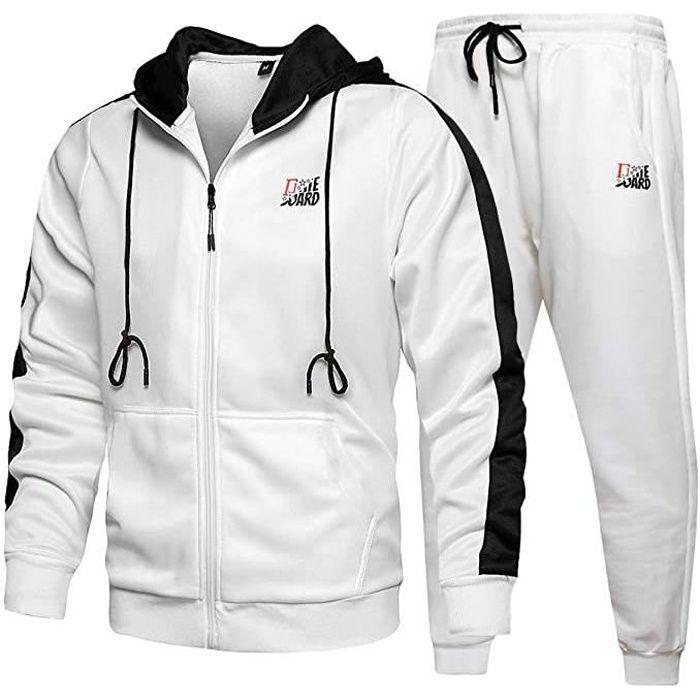Survêtement Homme Ensemble Jogging Sportif Sweat-Shirt Capuche Pantalon Cordon de Serrage 2 pièce Printemps Automne Blanc