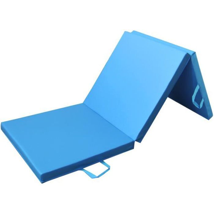 PRISP Tapis de Sol 180cm pour Fitness Exercices et Gymnastique 180 x 60 x 5 cm Matelas de Gym Épais et Pliable pour la Maison - Bleu