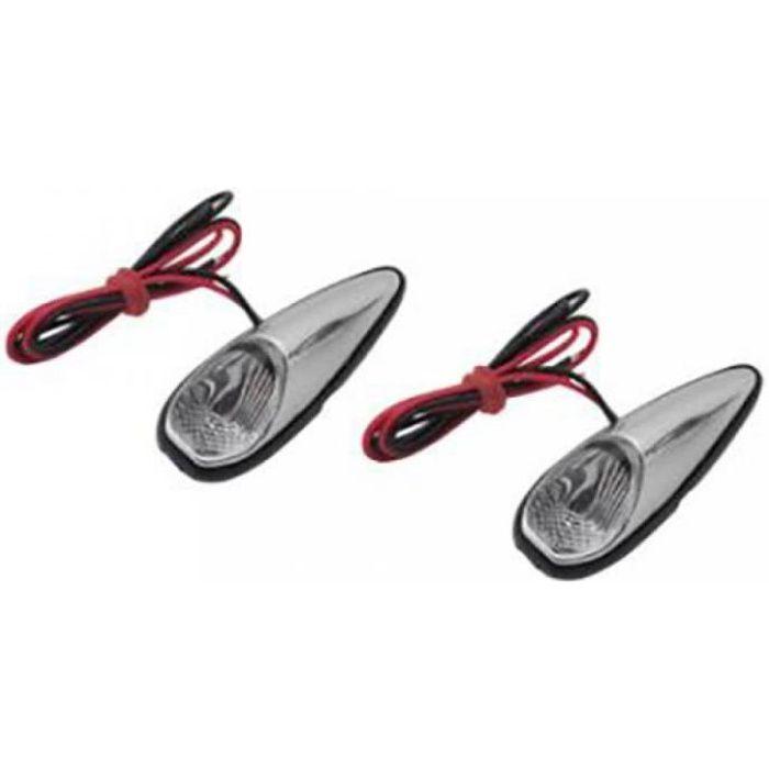 Mini clignotant goutte d'eau chromé à LED Replay moto scooter 50 à boite cligno