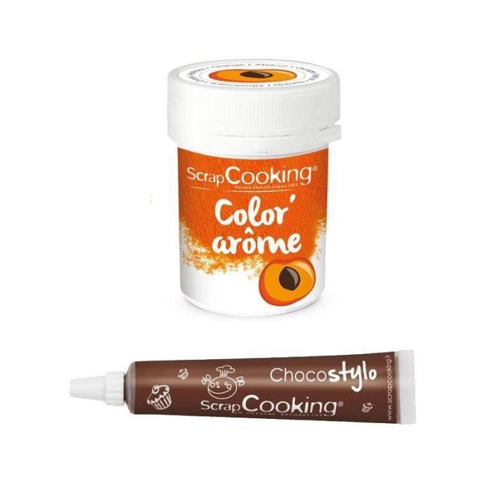 Colorant alimentaire orange arôme abricot + Stylo chocolat