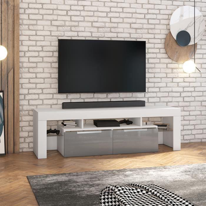 Meuble TV - VERGON - blanc mat / gris brillant - sans LED