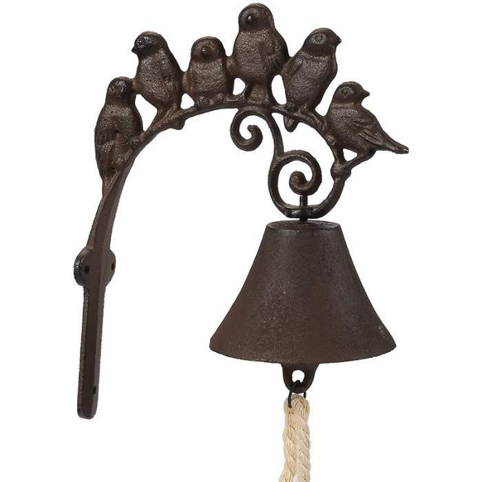 Carillon de Sonnette D'Oiseau en Fonte Rustique DéCor ExtéRieur IntéRieur Suspendu Sculpture Murale de Cloche