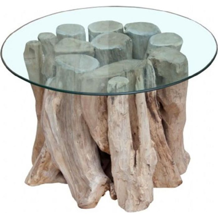 Table Basse Design ronde 60 cm bois flotté de teck massif