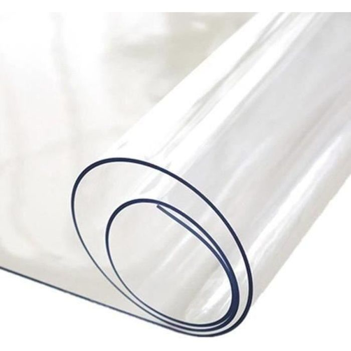 Nappe Transparente épaisseur 2 mm – Rectangle 80 x 200 cm – Film épais Protection PVC Transparent 2 MM - Roulé sur Tube (sans Plis)