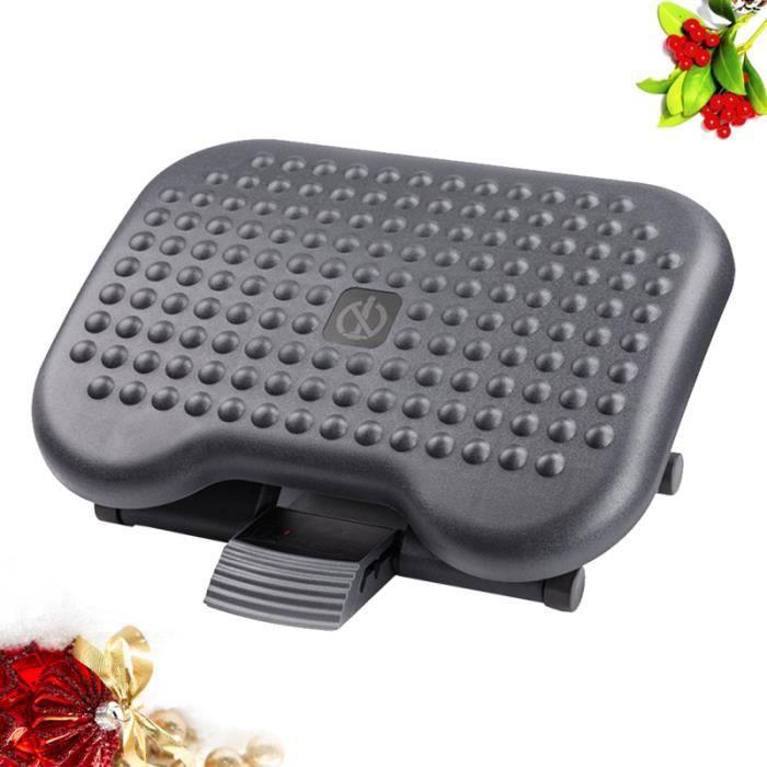 1Pc Feet Pedal Adjustable Massage Footrest Anti-Fatigue Mat Under Desk Foot Rest for Home Office (Black)
