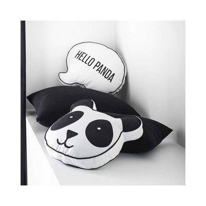 Coussin noir et blanc forme panda 40 x 50 cm Noir