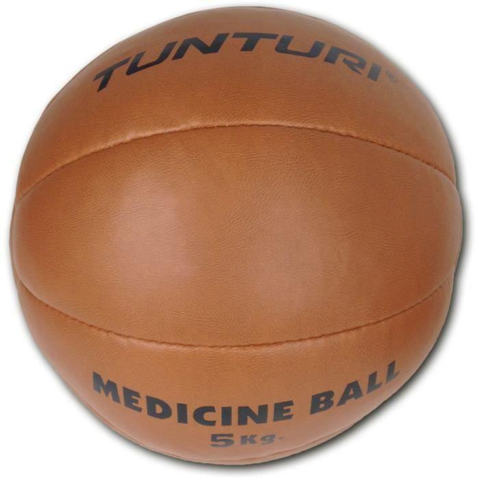 TUNTURI Balle de médecine / Ballon médicinal / Medicine ball en cuir synthétique 5kg marron