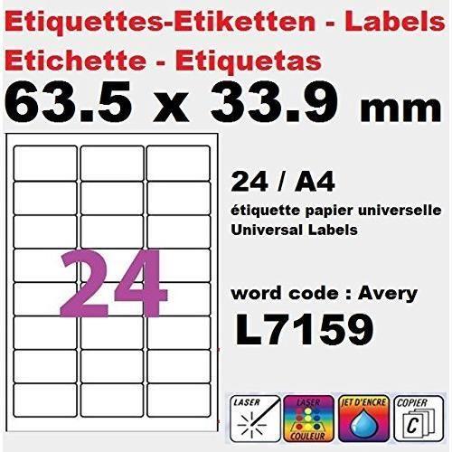 240 étiquettes 63,5 x 33,9 mm L7159 étiquette multiusage pour imprimante SOIT 10 planches de 24 étiquettes(l7159) sachet de 10 (240