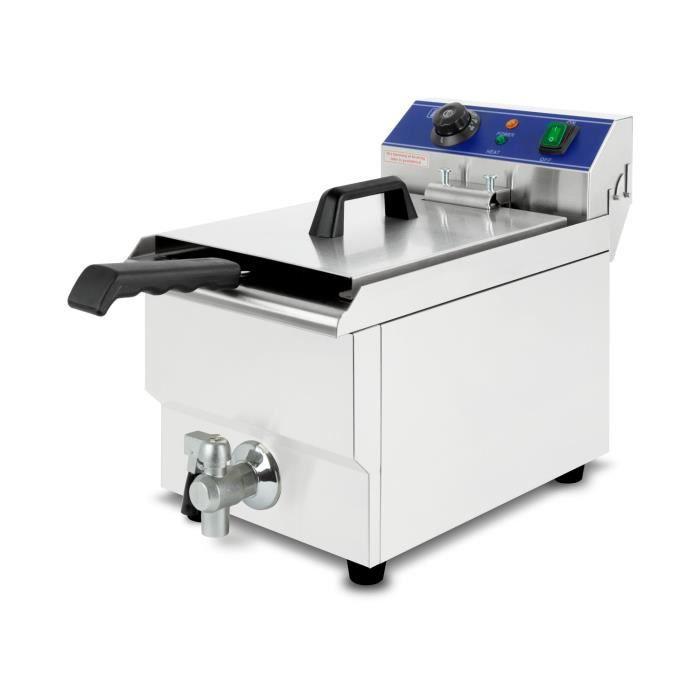 vertes Friteuse 17L (3000 Watt, température réglable jusqu'à 200°C, électrique, capacité 11 litres d'huile, vanne de vidange)