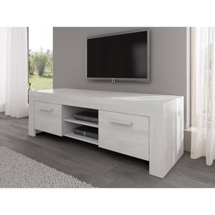 rome meuble tv contemporain d cor ch ne blanc 160 cm. Black Bedroom Furniture Sets. Home Design Ideas
