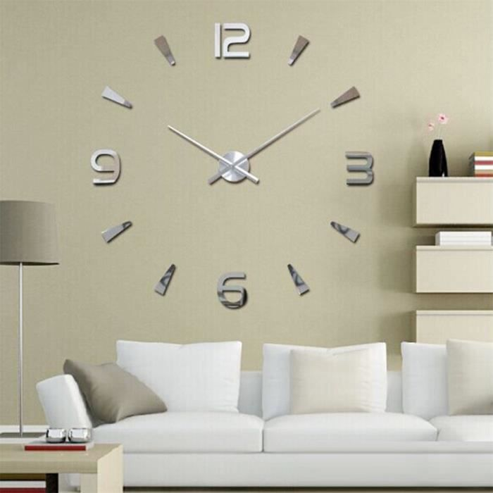 Luxe 3d diy grande surface horloge murale miroir sticker for Grande deco murale