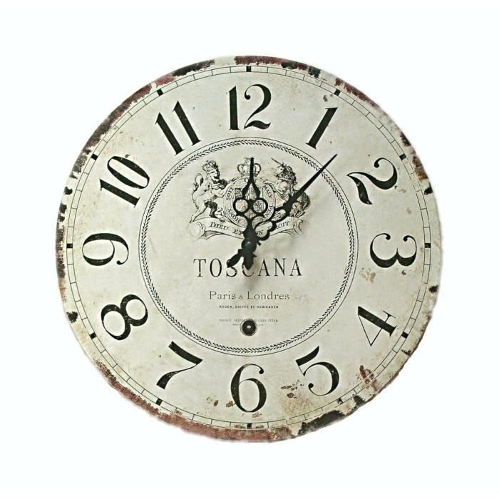 pendule horloge murale neuve deco bois grise 40cm achat vente horloge cdiscount. Black Bedroom Furniture Sets. Home Design Ideas