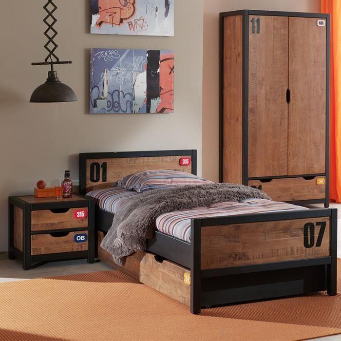 Chambre ado complète industrielle en bois BRONX armoire 2 portes Marron Lit  : L 95 x P 210 x H 75 cm