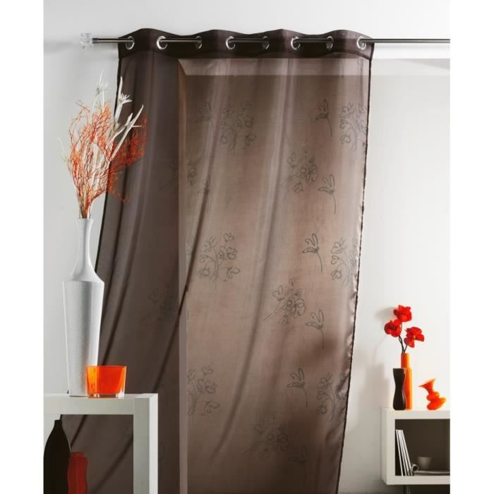 rideau voilage iris 140 x 240 cm illets chocolat achat. Black Bedroom Furniture Sets. Home Design Ideas