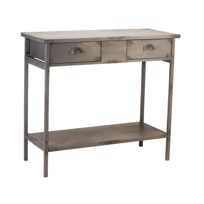 console 2 tiroirs en m tal aspect vieilli iron achat vente console console 2 tiroirs en. Black Bedroom Furniture Sets. Home Design Ideas
