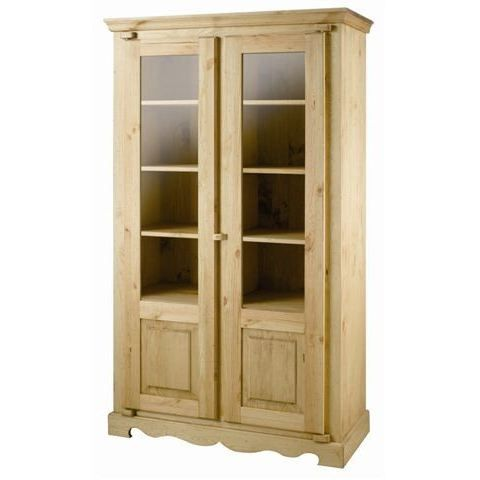 meuble vitrine rustique en pin 2 portes achat vente. Black Bedroom Furniture Sets. Home Design Ideas