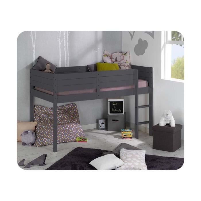 pack lit mezzanine enfant wax 90x190 cm avec matelas gris achat vente structure de lit pack. Black Bedroom Furniture Sets. Home Design Ideas