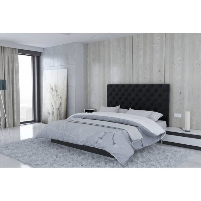t te de lit en microfibre noir londres taille 140 cm achat vente t te de lit cdiscount. Black Bedroom Furniture Sets. Home Design Ideas