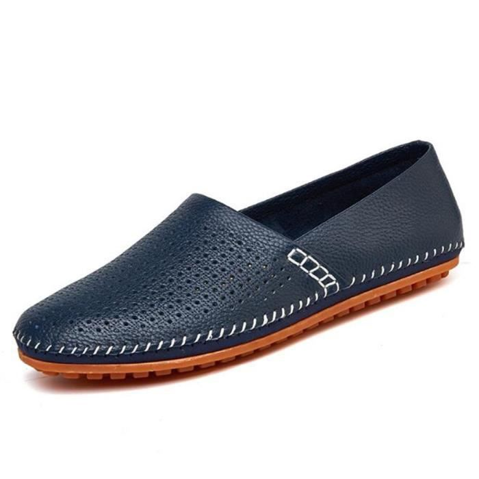 Chaussures homme perforé Nouvelle Mode Moccasin hommes Marque De Luxe Loafer Moccasins Cuir Respirant Grande Taille 38-47