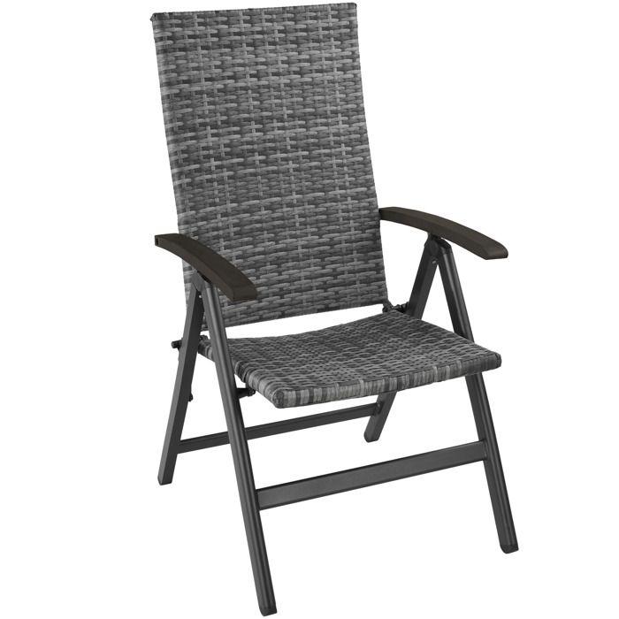 TECTAKE Chaise de Jardin Pliante Réglable en Aluminium et Résine Tressée 10  cm x 10 cm x 10,10 cm Gris