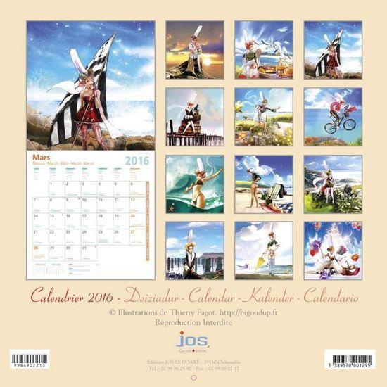 Calendrier Breton Bigoud'Up 2016   Achat / Vente calendrier