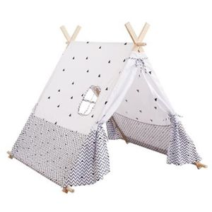 TENTE TUNNEL D'ACTIVITÉ Tente tipi pour enfant - H107 cm - Noir et blanc 1