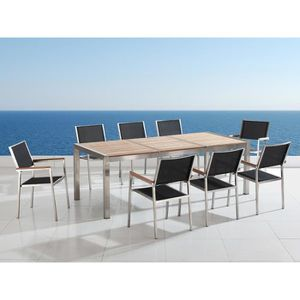 Table de jardin acier inox - plateau bois triple 220 cm avec ...