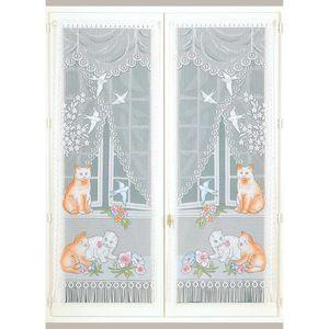 HomeMaison Faune et Flore Paire de Vitrages Droits Polyester 160x60 cm Peint