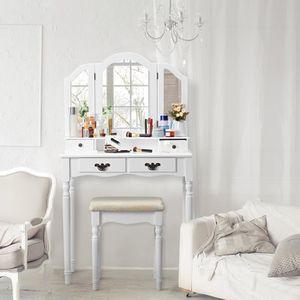 COIFFEUSE Coiffeuse Table de Maquillage avec 3 Miroirs 4 Tir