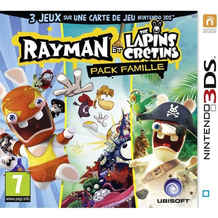 rayman et les lapins cr tins pack familial jeu 3ds achat vente jeu 3ds rayman et lapins. Black Bedroom Furniture Sets. Home Design Ideas