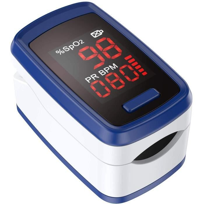 Oxymètre de Pouls Professionnel Oxymètre de Doigt Electronique Numérique Ecran LED SpO2 Moniteur de Fréquence Cardiaque avec Lanière