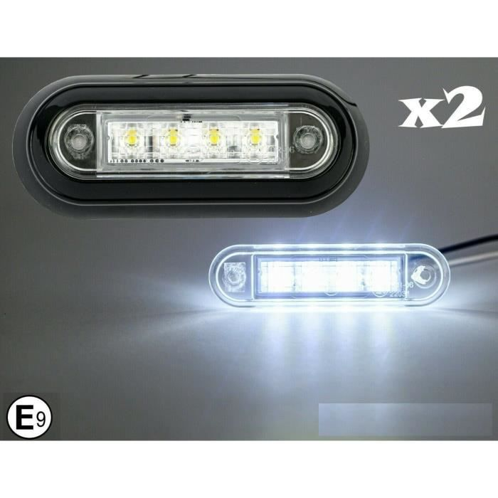 2x 4 LED Feux Gabarit Latéraux Blanc Montage Encastré 12/24V pour Camion Remorque