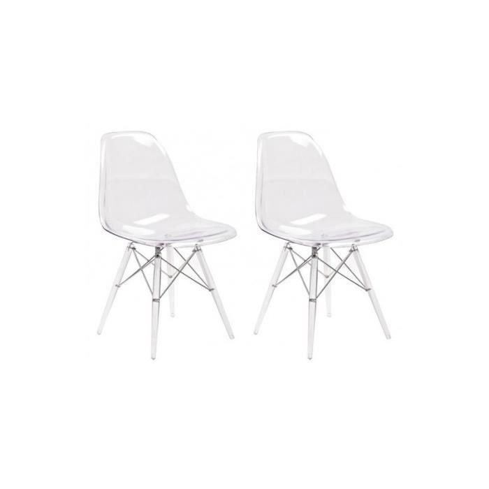 Lot 2 chaises transparentes & coussin noir - Zaho