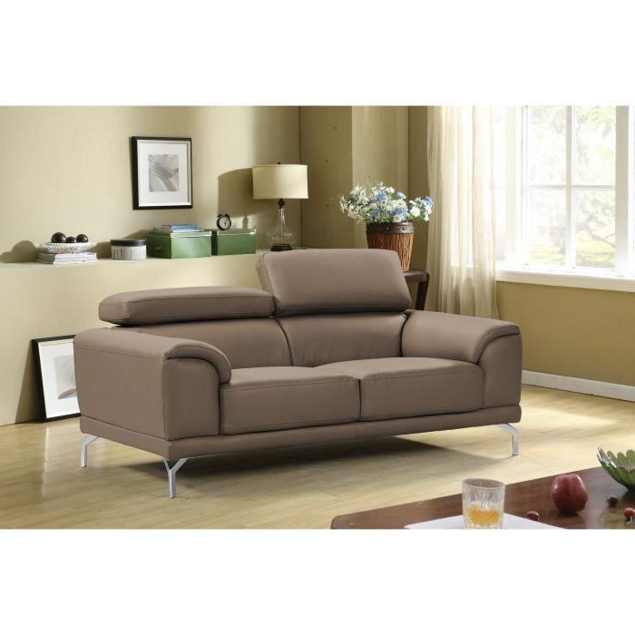 Canapé marron 2 places design en simili cuir haute qualité