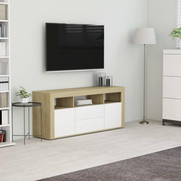 Luxueux Meuble TV Design - Meuble de rangement Meuble de Télévision Blanc et chêne sonoma 120x30x50 cm Aggloméré ♫90504