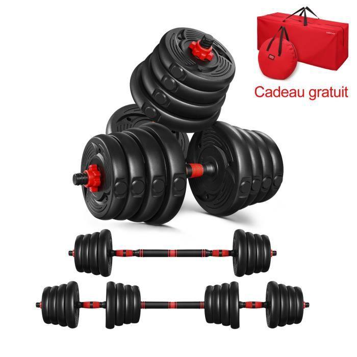 Haltère Ajustables - 30kg Poids - Noir rougeâtre