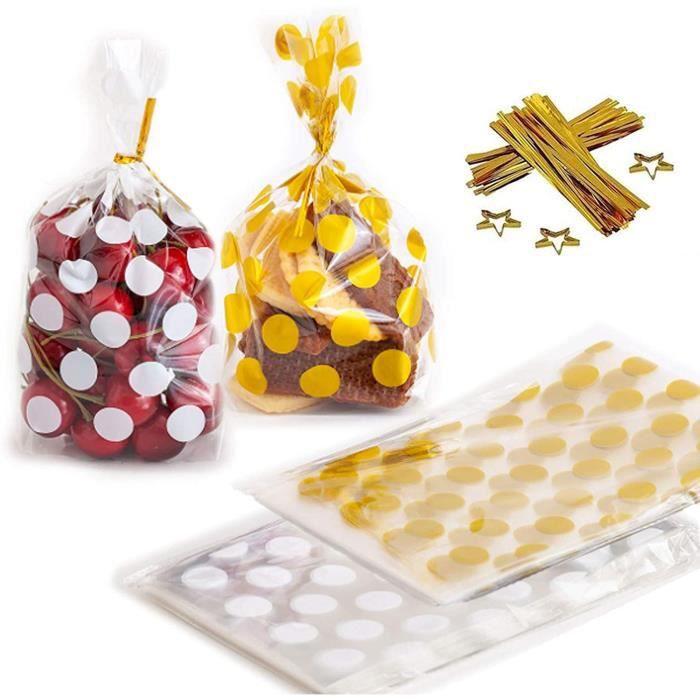 200 Pcs Sachet Plastique Bonbon avec 200 Pcs Attaches Dorées, Sachet Plastique Bonbon Anniversaire, Sachet de Bonbon pour Biscuits,