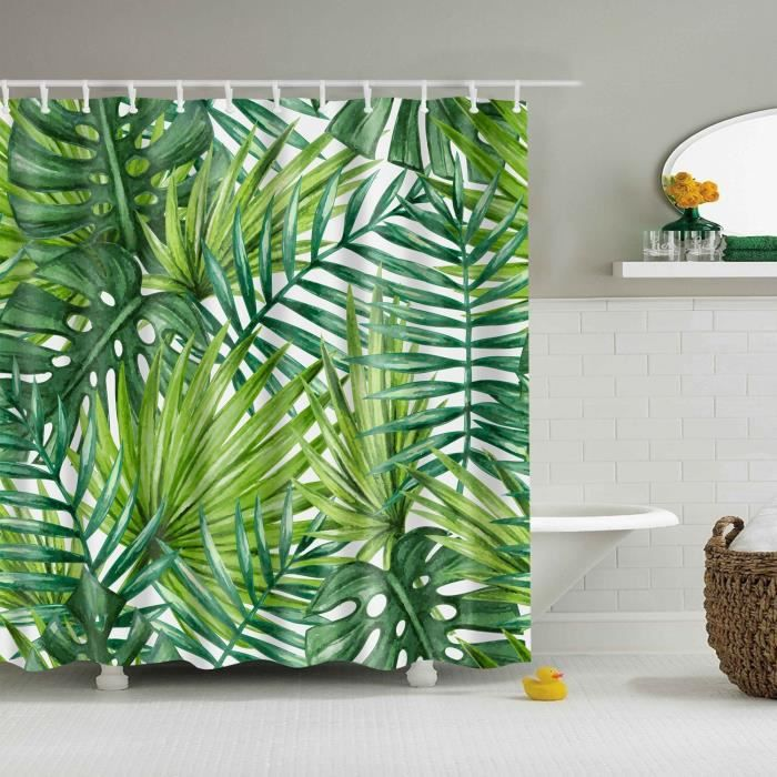 Accessoires salle de bain,Tropical vert plante feuille palmier Cactus rideaux de douche salle de bain rideau - Type 40 - 150*180 cm