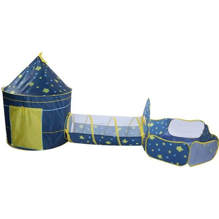 Tente Tunnel Enfant, Tente Escamotable Extérieure Piscine pour Enfants (sans Ballon) avec Imprimé Ciel Étoilé pour jouer à