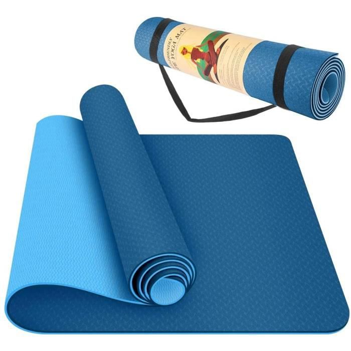 Tapis de sol Tapis de sol Tapis de yoga Tapis de Pilates 183X61CM TPE Couverture de protection de ceinture antidérapante à deux tons