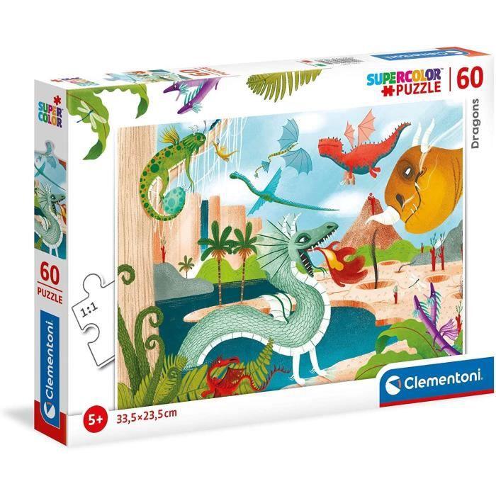 Clementoni - 26065 - SuperColor 60 pièces - Dragons