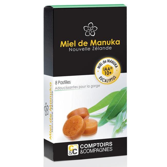 Comptoirs et Compagnies - Pastilles Miel de Manuka et Eucalyptus - Boîte de 8 pastilles