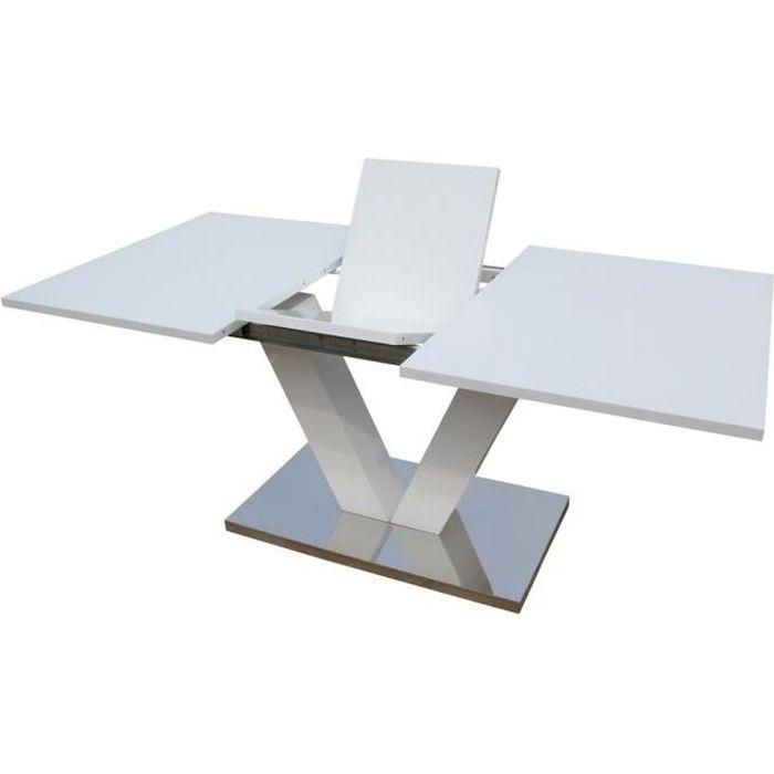 Table repas extensible -Lora- en MDF laqué blanc