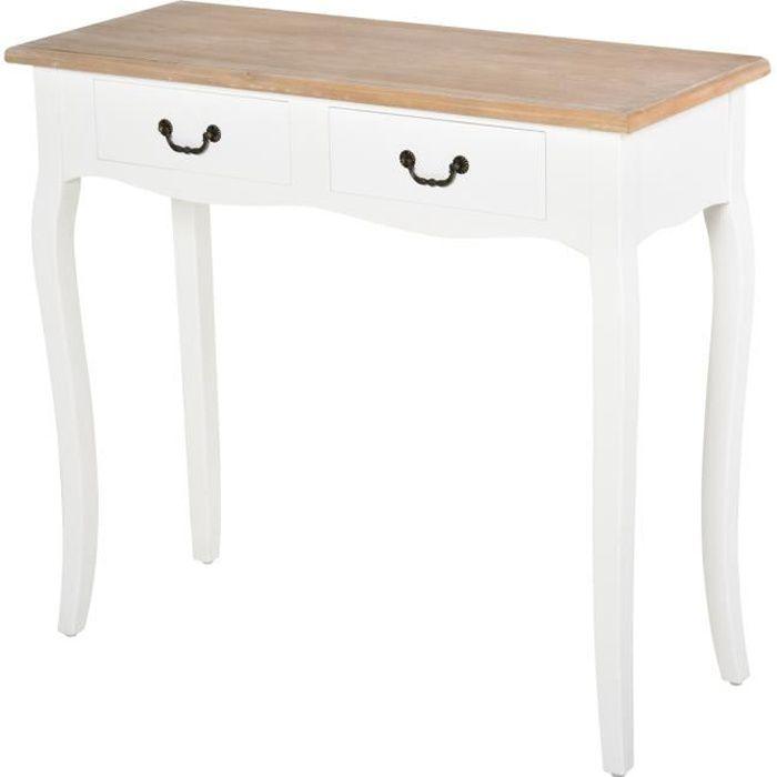 Console style table de drapier style shabby chic 2 tiroirs dim. 87L x 34l x 78H cm MDF bois massif pin clair blanc 87x34x78cm Blanc