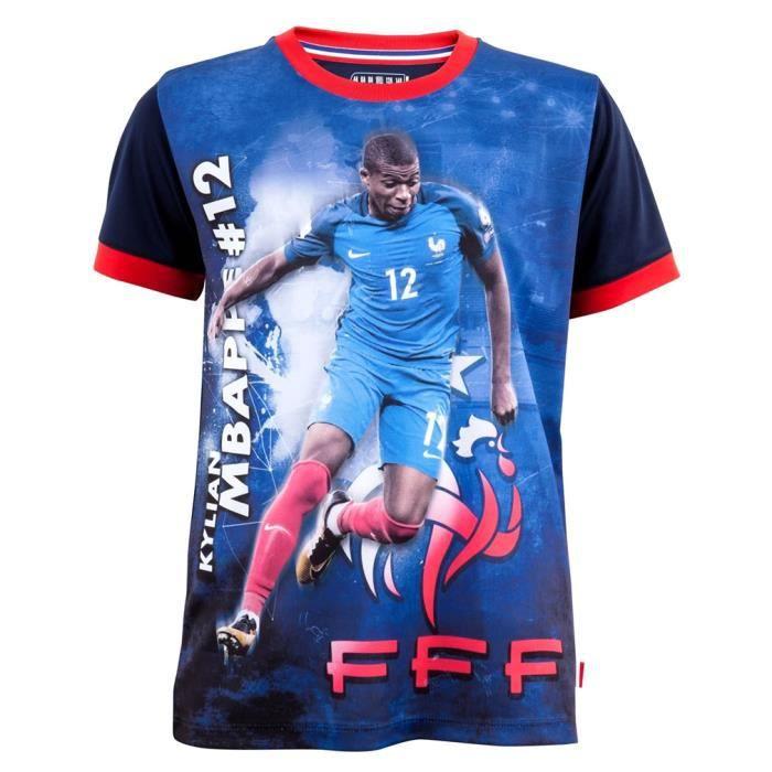 Maillot de Foot FFF Enfant 'Mbappé' Officiel - Bleu