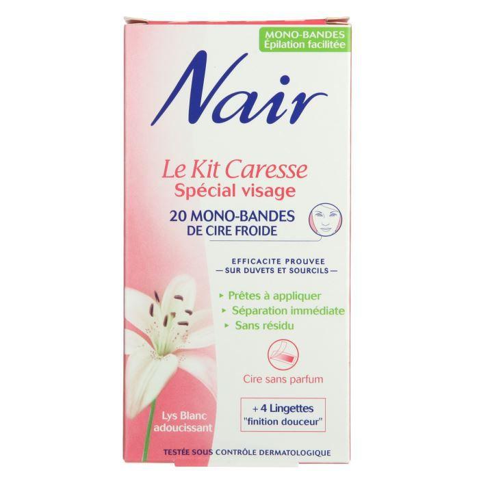 NAIR Cire froide Le Kit Caresse Spécial visage - 20 mono-bondes